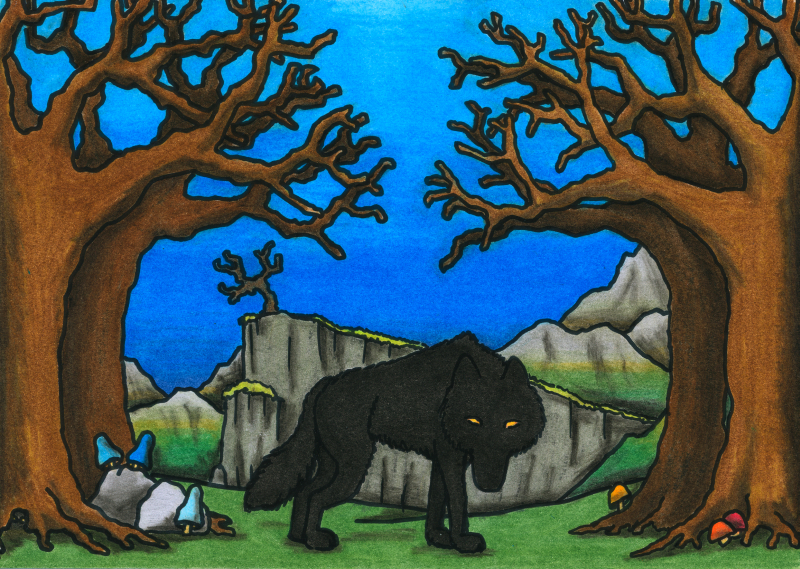 The Black Dog, as illustrated by Verena Kyratzes, from the Oneiropolis Compendium